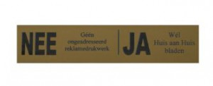 Messing look reclame  ja-nee sticker bord